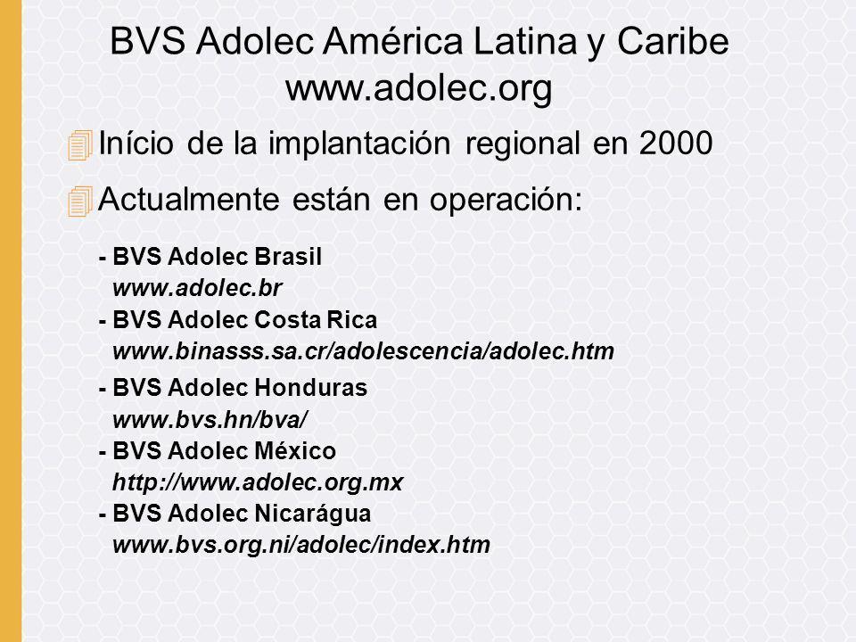 4En desarrollo: - BVS Adolec Argentina - BVS Adolec Cuba - BVS Adolec El Salvador - BVS Adolec Guatemala - BVS Adolec Venezuela BVS Adolec América Latina y Caribe www.adolec.org