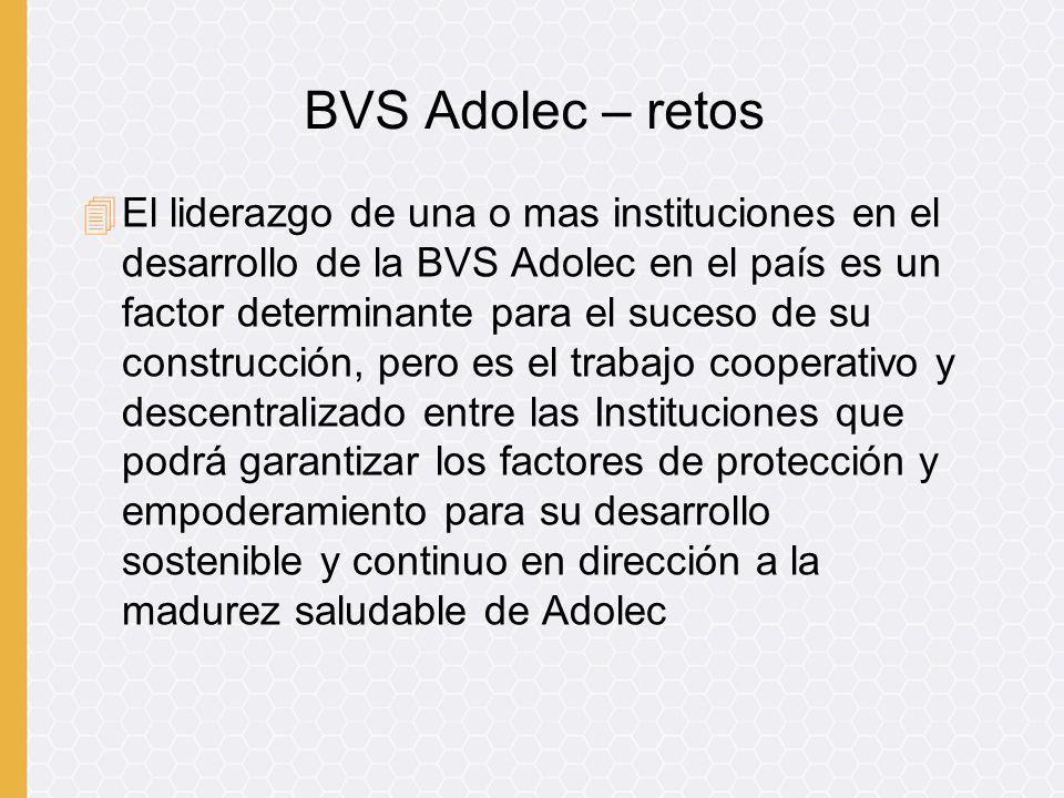 4El liderazgo de una o mas instituciones en el desarrollo de la BVS Adolec en el país es un factor determinante para el suceso de su construcción, per