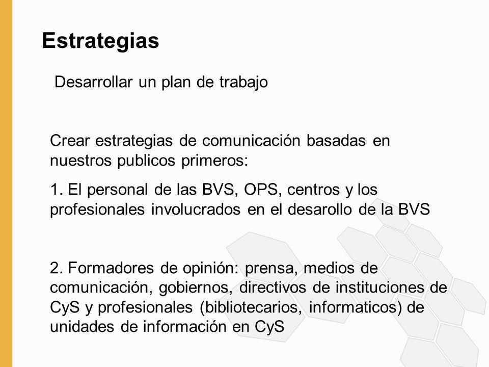 Estrategias Desarrollar un plan de trabajo Crear estrategias de comunicación basadas en nuestros publicos primeros: 1.