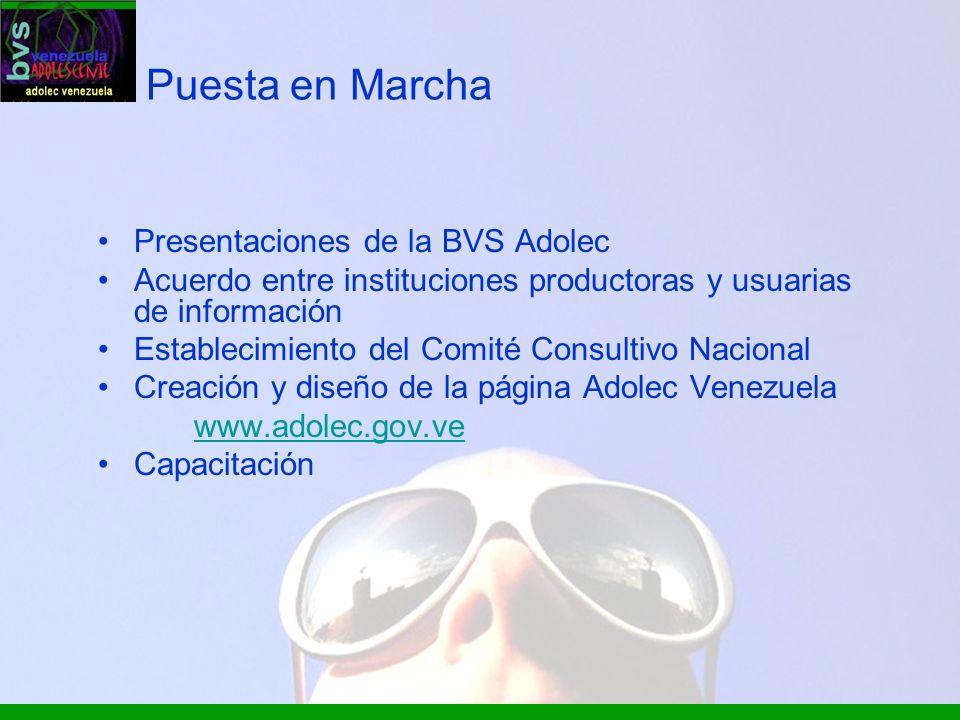 Puesta en Marcha Presentaciones de la BVS Adolec Acuerdo entre instituciones productoras y usuarias de información Establecimiento del Comité Consulti