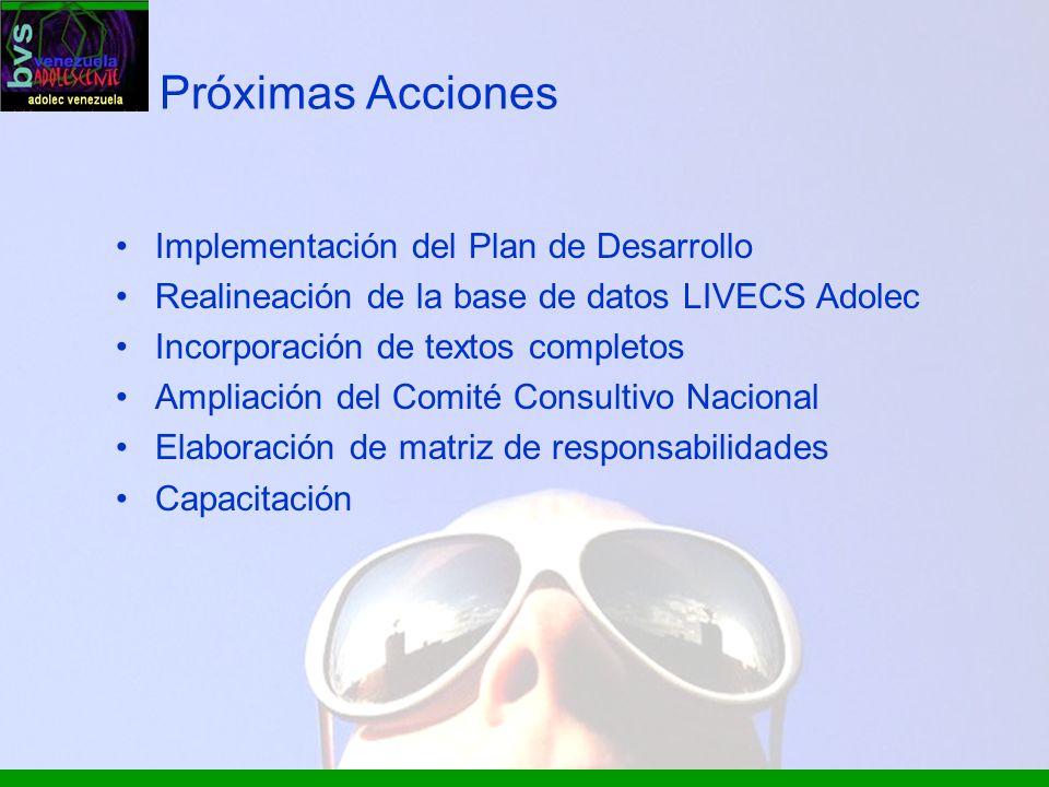 Próximas Acciones Implementación del Plan de Desarrollo Realineación de la base de datos LIVECS Adolec Incorporación de textos completos Ampliación de