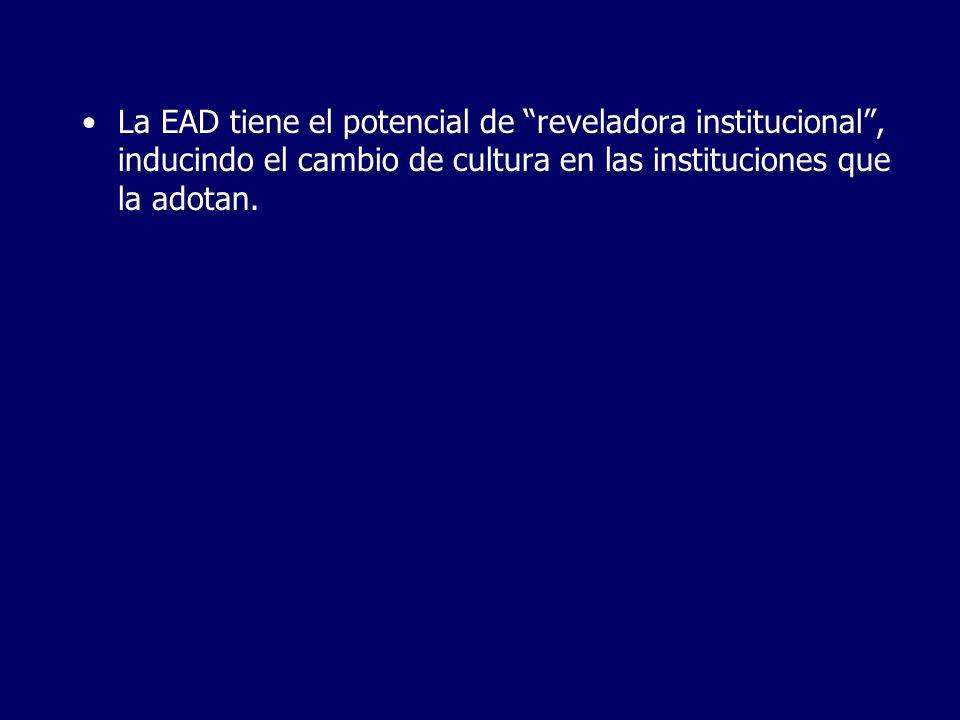 La EAD tiene el potencial de reveladora institucional, inducindo el cambio de cultura en las instituciones que la adotan.