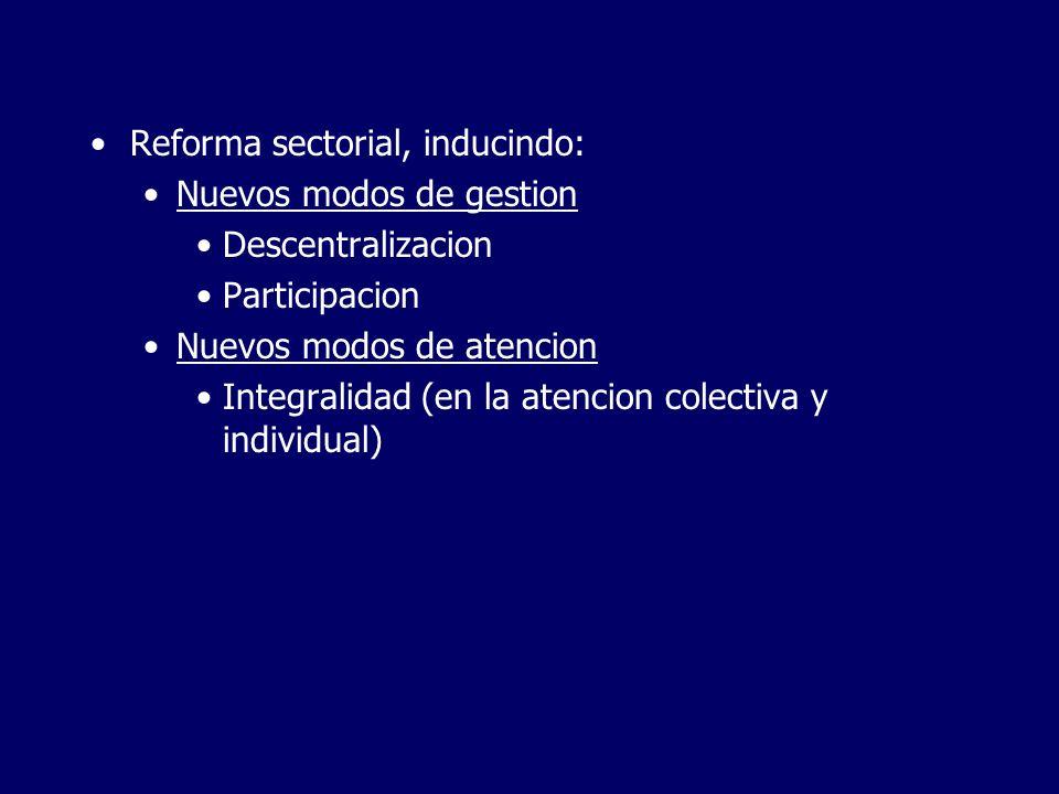 Reforma sectorial, inducindo: Nuevos modos de gestion Descentralizacion Participacion Nuevos modos de atencion Integralidad (en la atencion colectiva y individual)