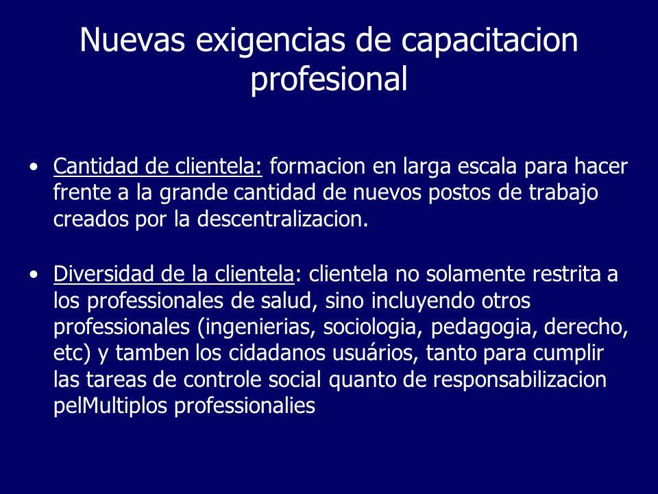 Nuevas exigencias de capacitacion profesional Cantidad de clientela: formacion en larga escala para hacer frente a la grande cantidad de nuevos postos de trabajo creados por la descentralizacion.