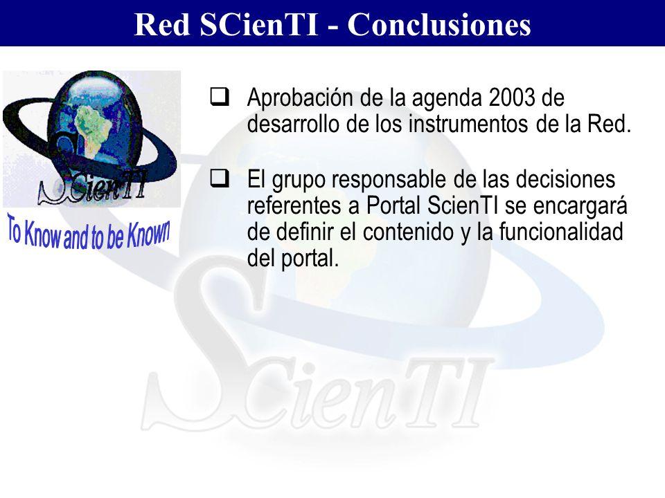 Red SCienTI - Conclusiones Aprobación de la agenda 2003 de desarrollo de los instrumentos de la Red. El grupo responsable de las decisiones referentes
