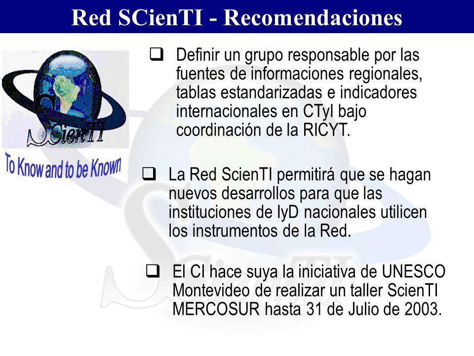 Red SCienTI - Recomendaciones Definir un grupo responsable por las fuentes de informaciones regionales, tablas estandarizadas e indicadores internacio