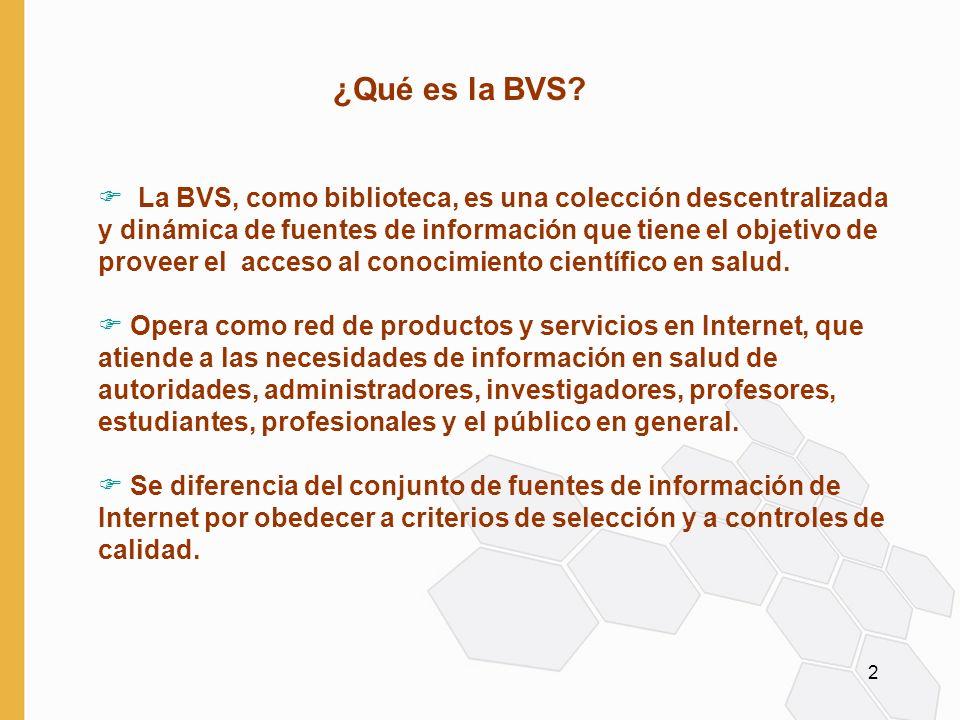 3 F La BVS se desarrollada en los ámbitos regional y nacional y es promovida por OPS a través de BIREME F La acción de las BVS (nacionales y/o temáticas) es asistida por Comités Consultivos nacionales formados por representantes de instituciones productoras, intermediarias y usuarias de información en el área F El Comité tiene como principales funciones coordinar el trabajo cooperativo, definir y orientar los criterios de calidad, definir prioridades, dividir responsabilidades, controlar y evaluar el desempeño de la BVS ¿Cómo se desarrolla la BVS?