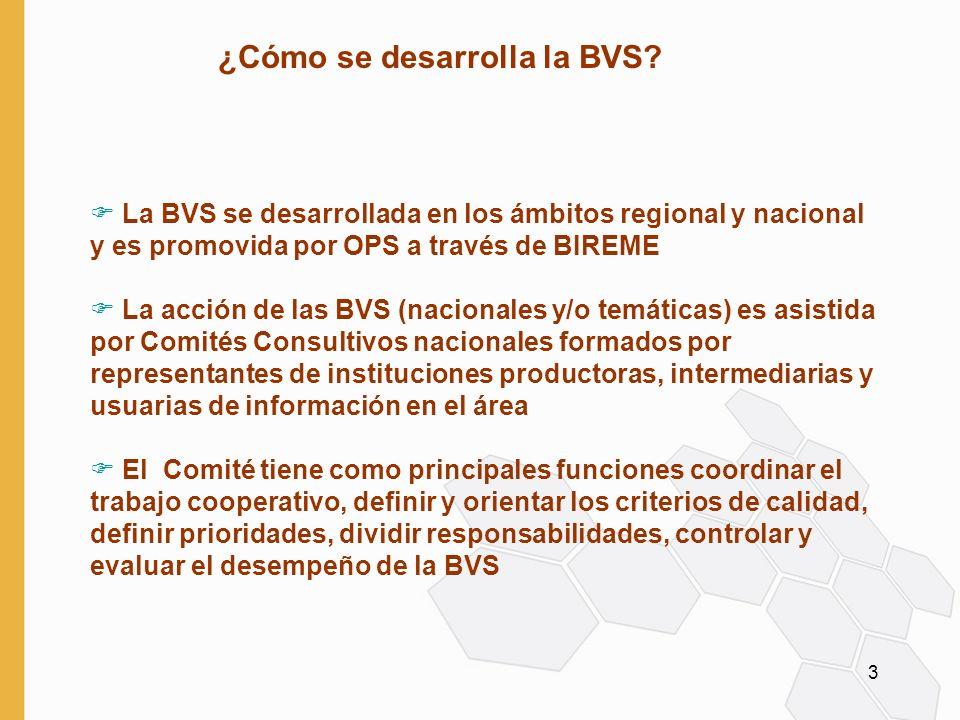3 F La BVS se desarrollada en los ámbitos regional y nacional y es promovida por OPS a través de BIREME F La acción de las BVS (nacionales y/o temáticas) es asistida por Comités Consultivos nacionales formados por representantes de instituciones productoras, intermediarias y usuarias de información en el área F El Comité tiene como principales funciones coordinar el trabajo cooperativo, definir y orientar los criterios de calidad, definir prioridades, dividir responsabilidades, controlar y evaluar el desempeño de la BVS ¿Cómo se desarrolla la BVS