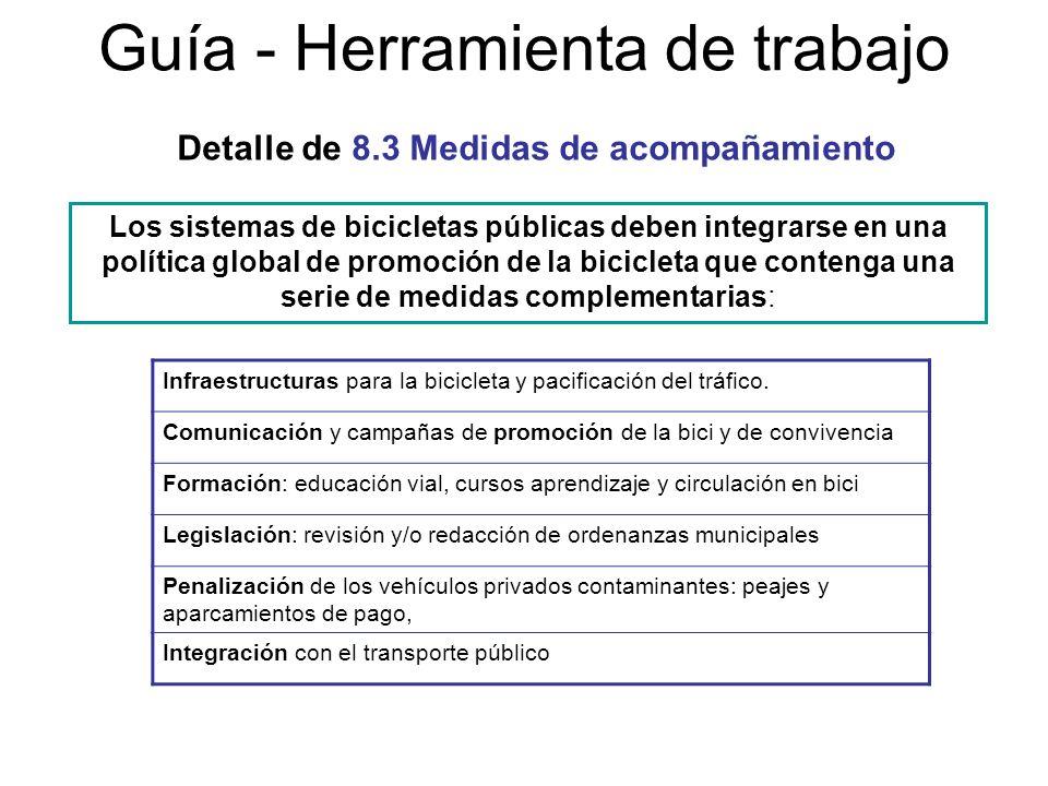 Guía - Herramienta de trabajo Los sistemas de bicicletas públicas deben integrarse en una política global de promoción de la bicicleta que contenga un