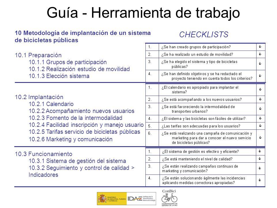 10 Metodología de implantación de un sistema de bicicletas públicas 10.1 Preparación 10.1.1 Grupos de participación 10.1.2 Realización estudio de movi