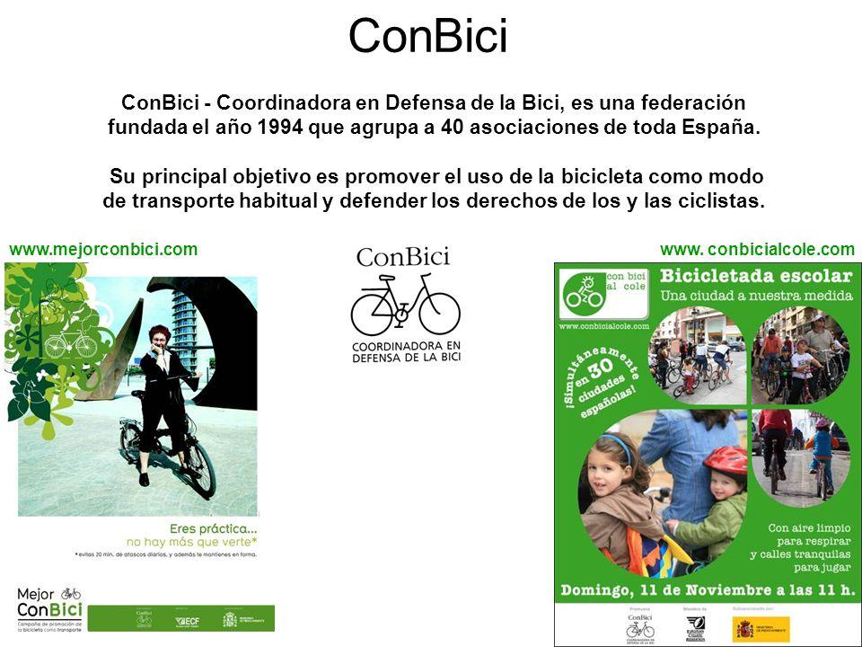 ConBici ConBici - Coordinadora en Defensa de la Bici, es una federación fundada el año 1994 que agrupa a 40 asociaciones de toda España. Su principal