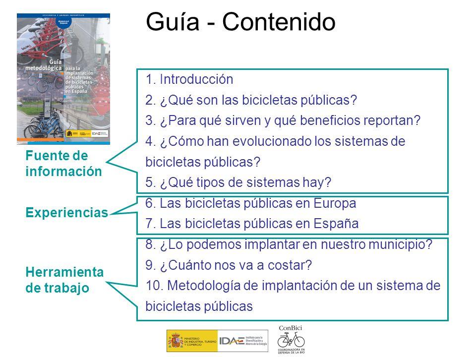 Guía - Contenido 1. Introducción 2. ¿Qué son las bicicletas públicas? 3. ¿Para qué sirven y qué beneficios reportan? 4. ¿Cómo han evolucionado los sis