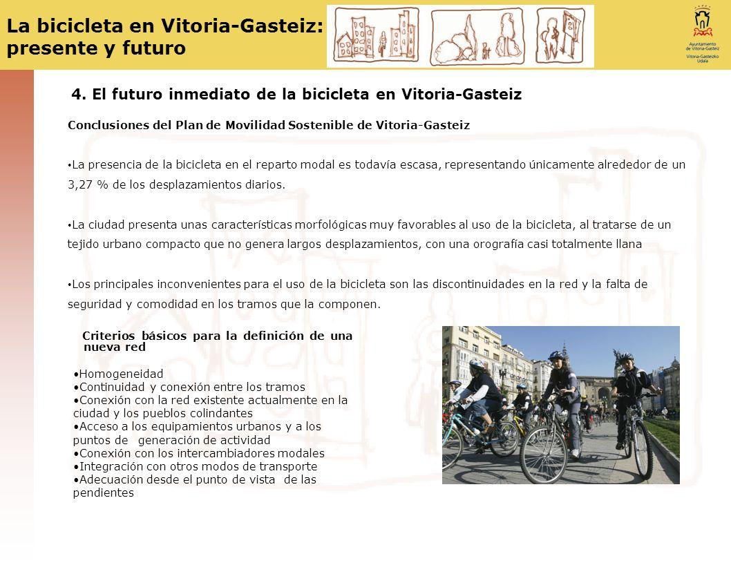 La bicicleta en Vitoria-Gasteiz: presente y futuro 4. El futuro inmediato de la bicicleta en Vitoria-Gasteiz Conclusiones del Plan de Movilidad Sosten
