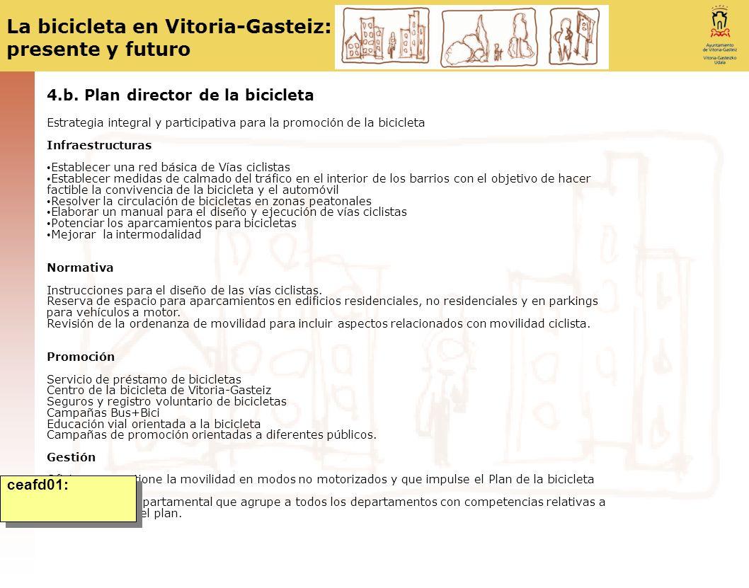 La bicicleta en Vitoria-Gasteiz: presente y futuro 4.b. Plan director de la bicicleta Estrategia integral y participativa para la promoción de la bici