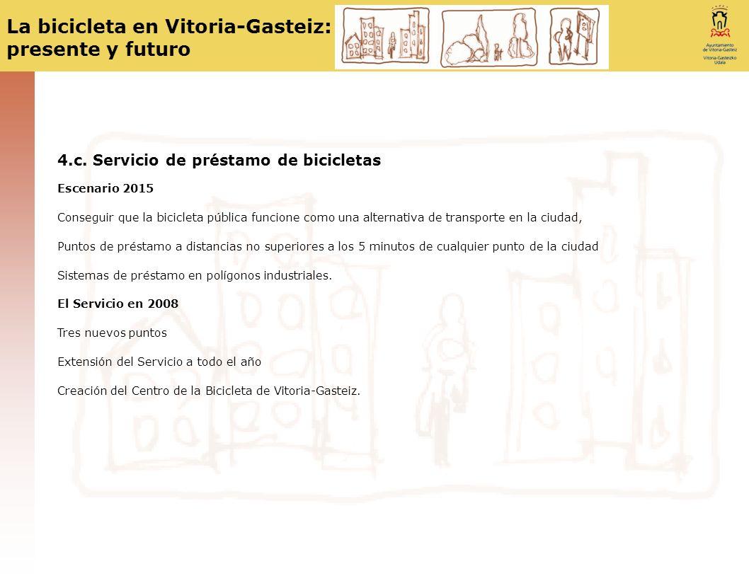 La bicicleta en Vitoria-Gasteiz: presente y futuro 4.c. Servicio de préstamo de bicicletas Escenario 2015 Conseguir que la bicicleta pública funcione
