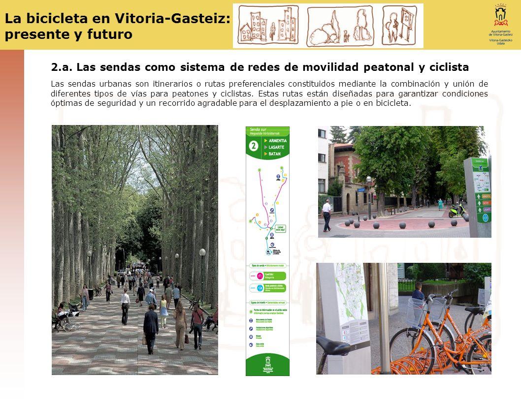 La bicicleta en Vitoria-Gasteiz: presente y futuro 2.a. Las sendas como sistema de redes de movilidad peatonal y ciclista Las sendas urbanas son itine