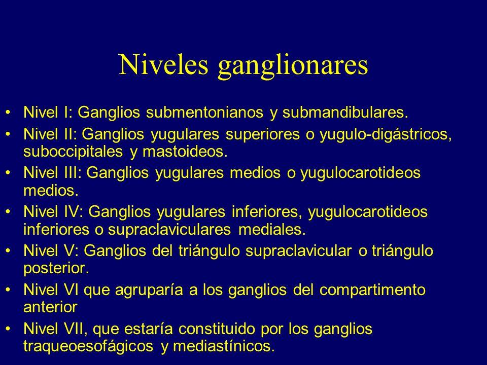 Niveles ganglionares Nivel I: Ganglios submentonianos y submandibulares. Nivel II: Ganglios yugulares superiores o yugulo-digástricos, suboccipitales