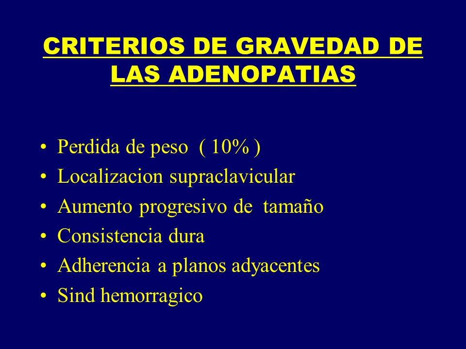 CRITERIOS DE GRAVEDAD DE LAS ADENOPATIAS Perdida de peso ( 10% ) Localizacion supraclavicular Aumento progresivo de tamaño Consistencia dura Adherenci