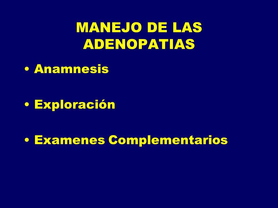 MANEJO DE LAS ADENOPATIAS Anamnesis Exploración Examenes Complementarios