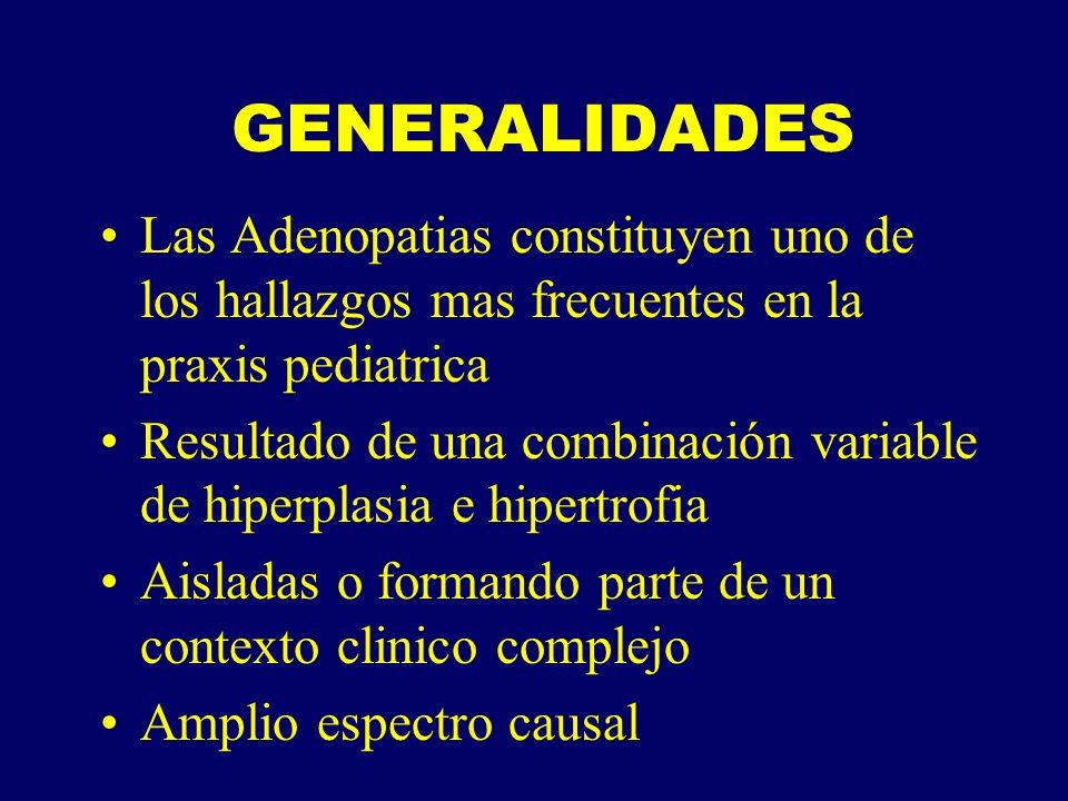 CONCEPTO DE ADENOPATIA PATOLOGICA Aumento de tamaño, número consistencia de los ganglios linfaticos Ganglio que se vuelve visible o palpable Sensibilidad:dolor (-) Criterios mas aceptados estan basados en la combinación de la edad, localización y tamaño