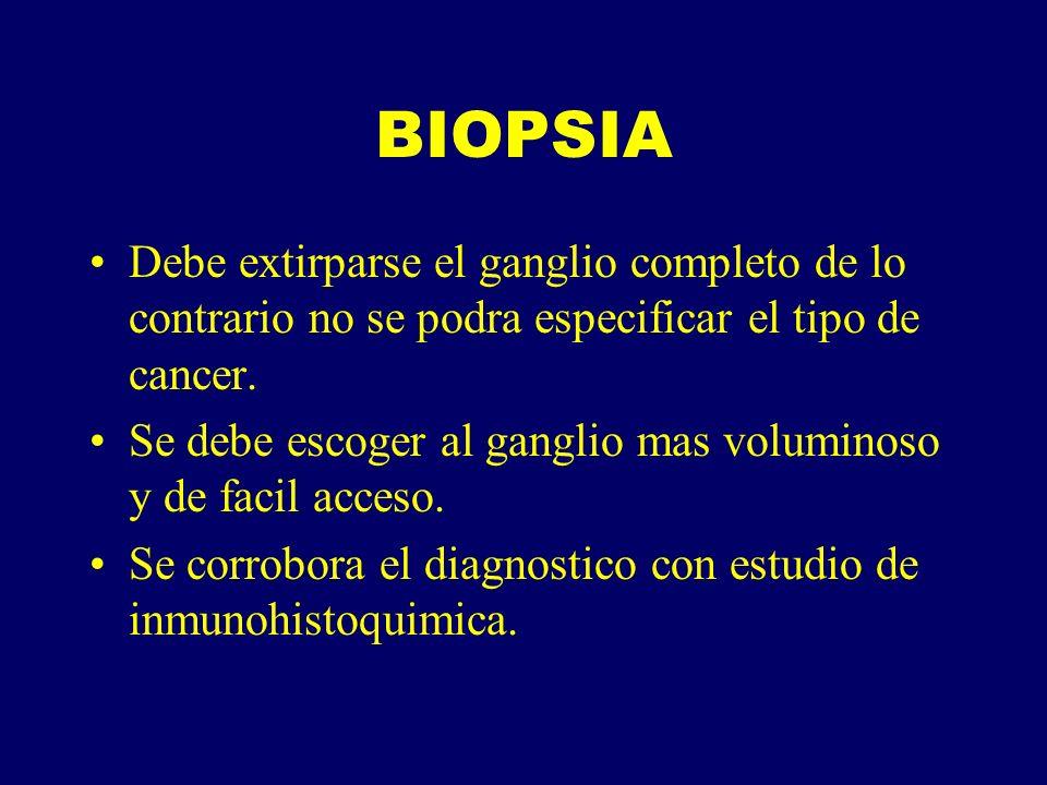 BIOPSIA Debe extirparse el ganglio completo de lo contrario no se podra especificar el tipo de cancer. Se debe escoger al ganglio mas voluminoso y de