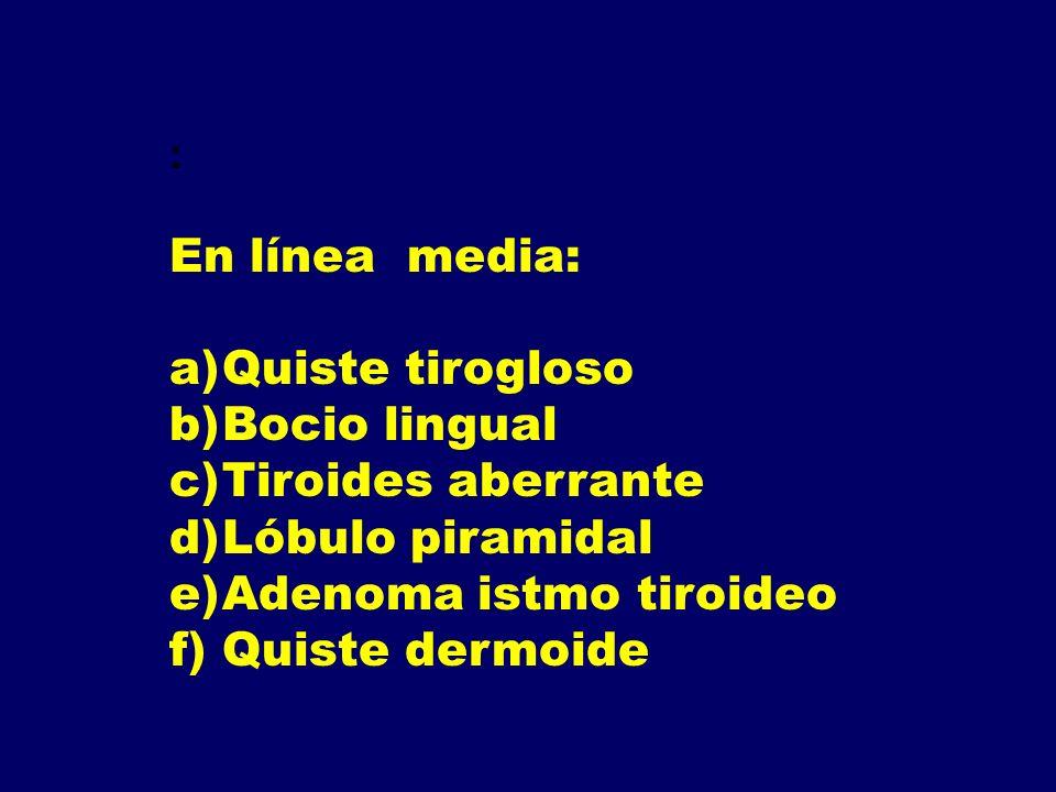 : En línea media: a)Quiste tirogloso b)Bocio lingual c)Tiroides aberrante d)Lóbulo piramidal e)Adenoma istmo tiroideo f)Quiste dermoide
