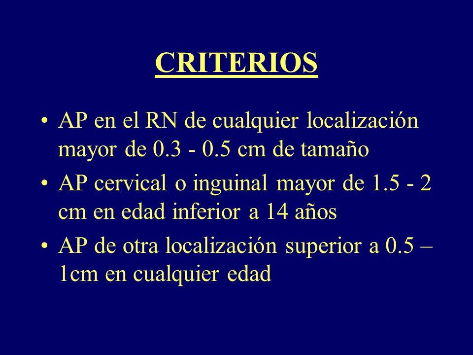 CRITERIOS AP en el RN de cualquier localización mayor de 0.3 - 0.5 cm de tamaño AP cervical o inguinal mayor de 1.5 - 2 cm en edad inferior a 14 años