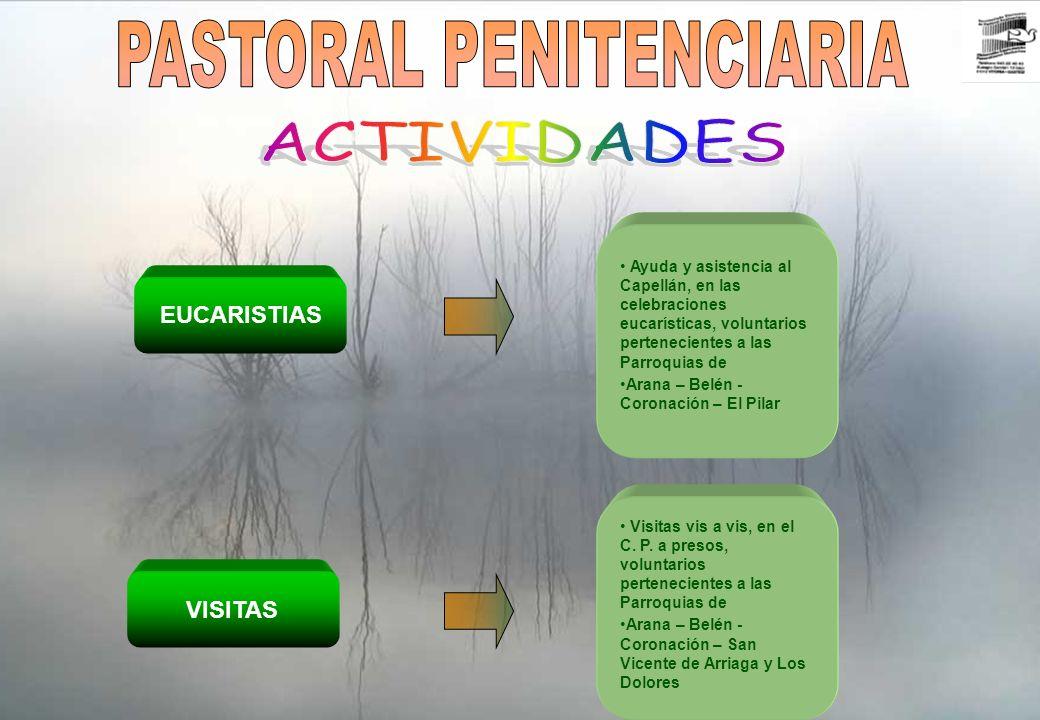 Realización de trabajos manuales por voluntarios, de la parroquia de Jesucristo Resucitado, en el módulo de mujeres.