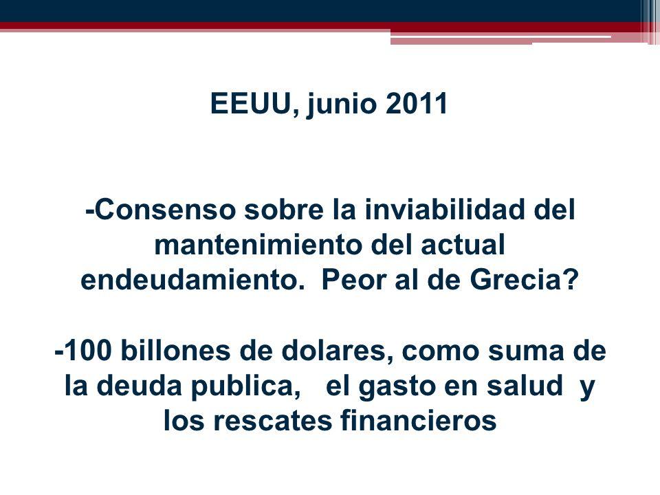 EEUU, junio 2011 -Consenso sobre la inviabilidad del mantenimiento del actual endeudamiento.