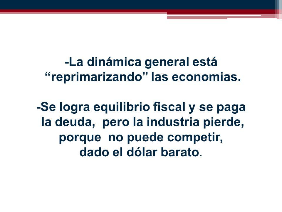 -La dinámica general está reprimarizando las economias.