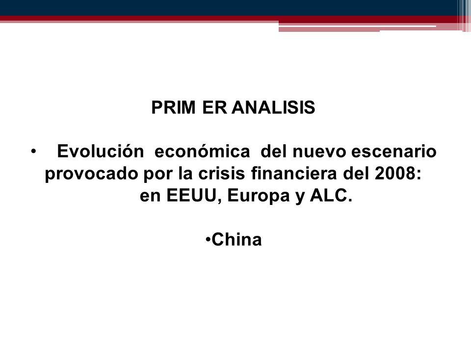 PRIM ER ANALISIS Evolución económica del nuevo escenario provocado por la crisis financiera del 2008: en EEUU, Europa y ALC.