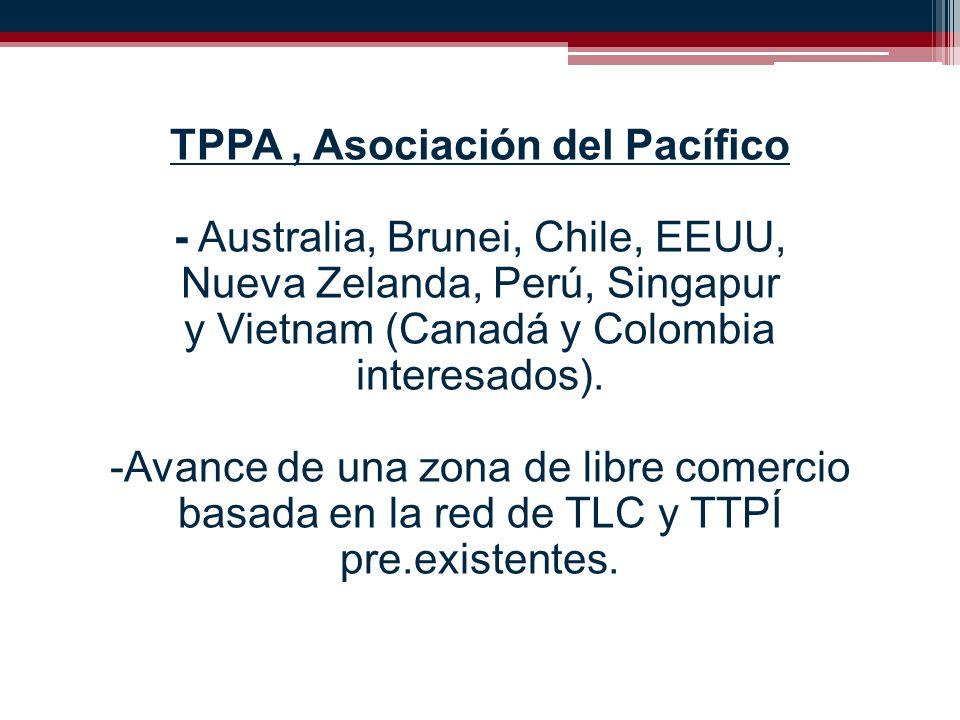 TPPA, Asociación del Pacífico - Australia, Brunei, Chile, EEUU, Nueva Zelanda, Perú, Singapur y Vietnam (Canadá y Colombia interesados).