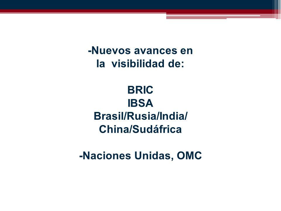 -Nuevos avances en la visibilidad de: BRIC IBSA Brasil/Rusia/India/ China/Sudáfrica -Naciones Unidas, OMC
