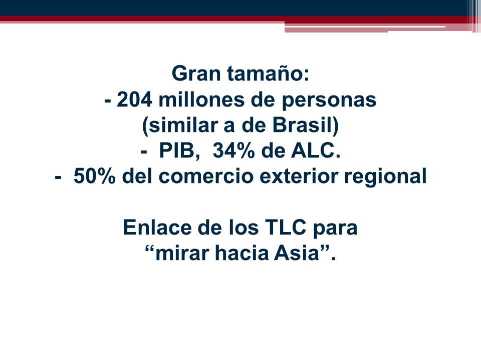 Gran tamaño: - 204 millones de personas (similar a de Brasil) - PIB, 34% de ALC.