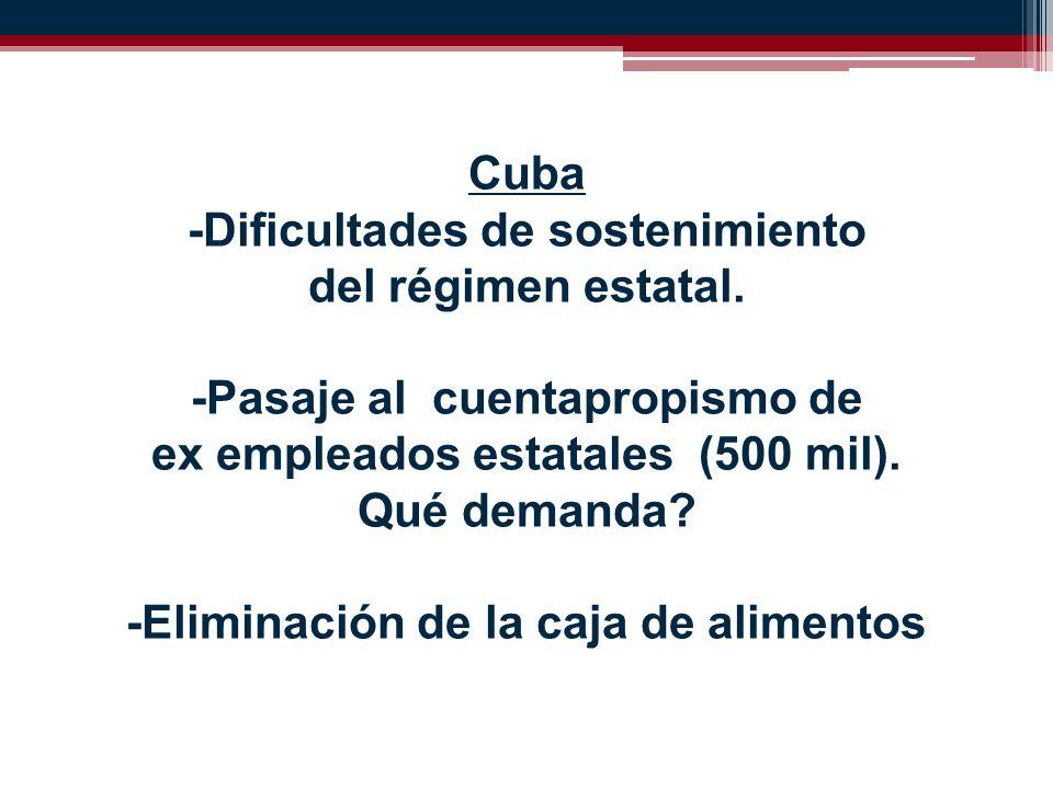 Cuba -Dificultades de sostenimiento del régimen estatal.