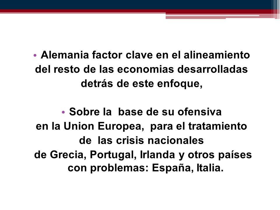 Alemania factor clave en el alineamiento del resto de las economias desarrolladas detrás de este enfoque, Sobre la base de su ofensiva en la Union Europea, para el tratamiento de las crisis nacionales de Grecia, Portugal, Irlanda y otros países con problemas: España, Italia.
