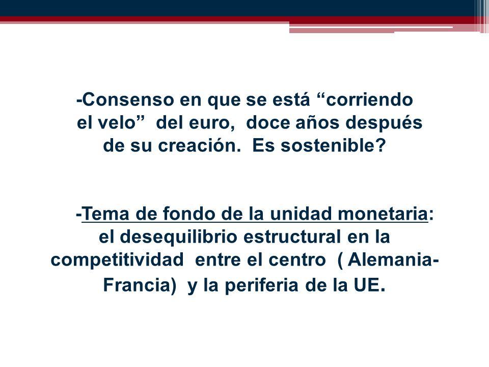 -Consenso en que se está corriendo el velo del euro, doce años después de su creación.