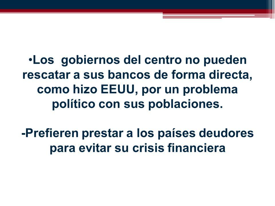Los gobiernos del centro no pueden rescatar a sus bancos de forma directa, como hizo EEUU, por un problema político con sus poblaciones.