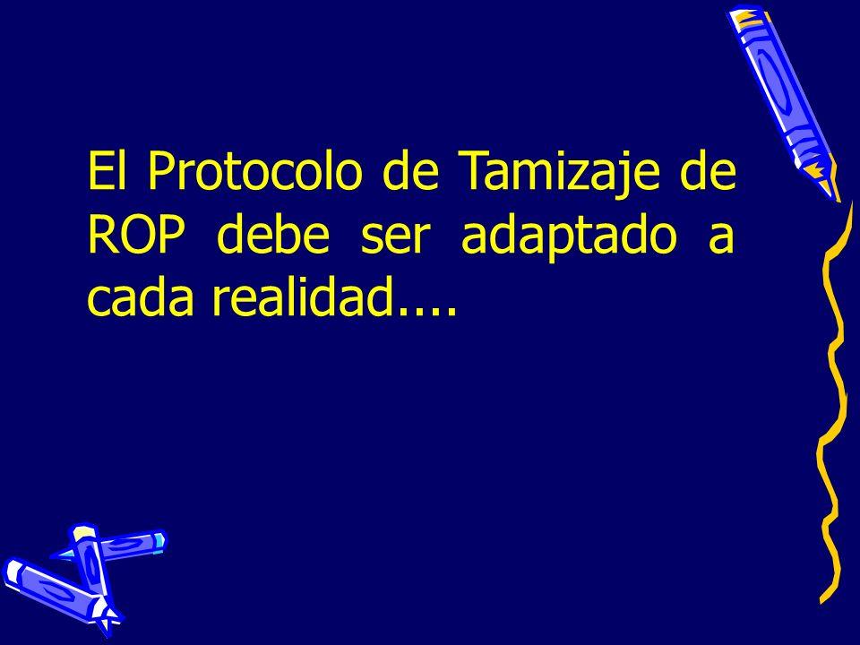 El Protocolo de Tamizaje de ROP debe ser adaptado a cada realidad....