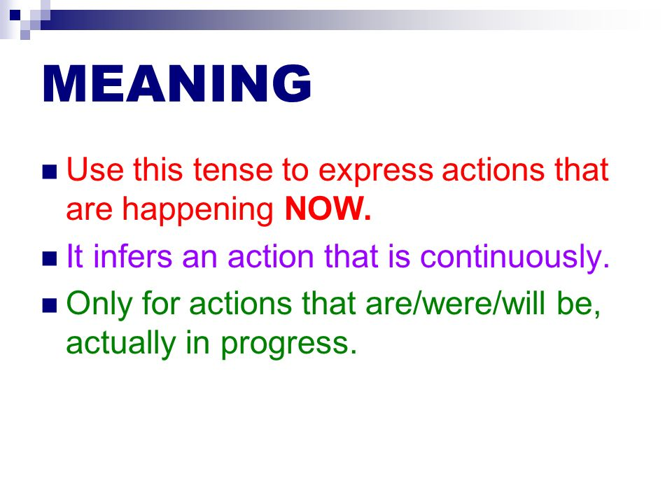 USES To express actions that are happening NOW.Yo estaba llegando a casa.
