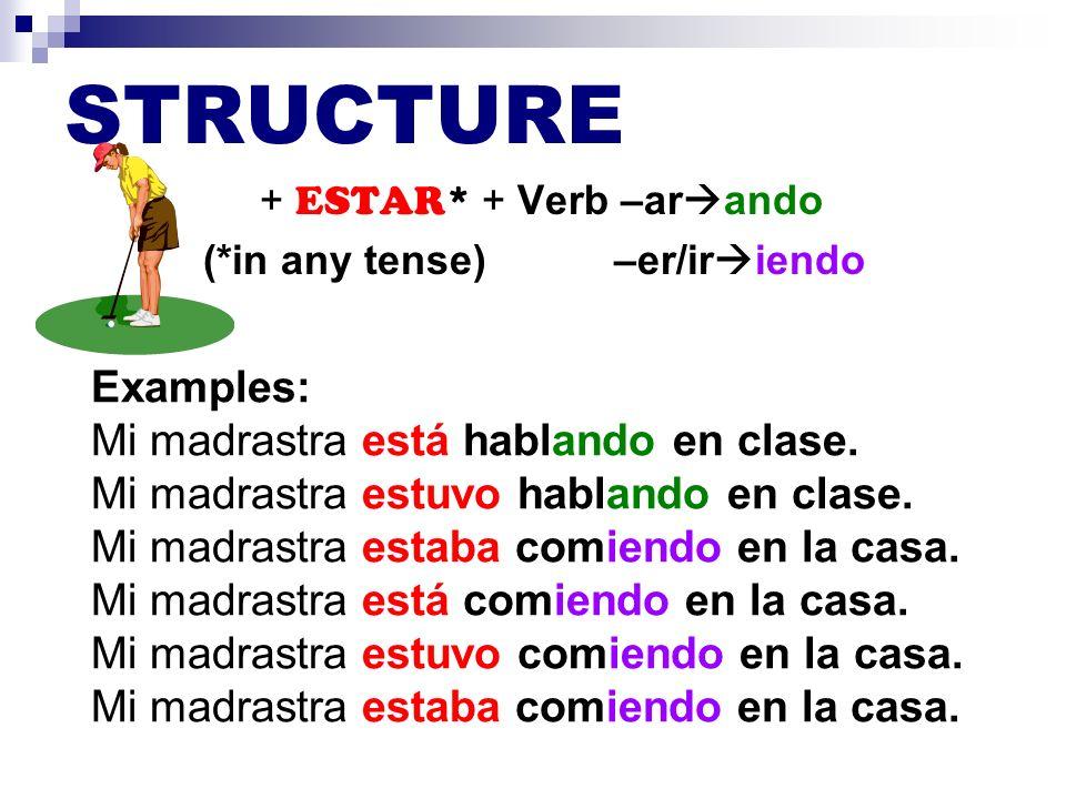 2 SPECIAL RULES + ESTAR* + Verb –ar ando (*in any tense) –er/ir iendo 1.