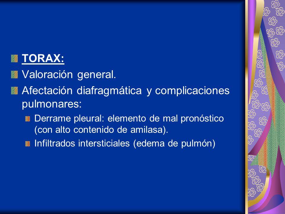 TORAX: Valoración general. Afectación diafragmática y complicaciones pulmonares: Derrame pleural: elemento de mal pronóstico (con alto contenido de am