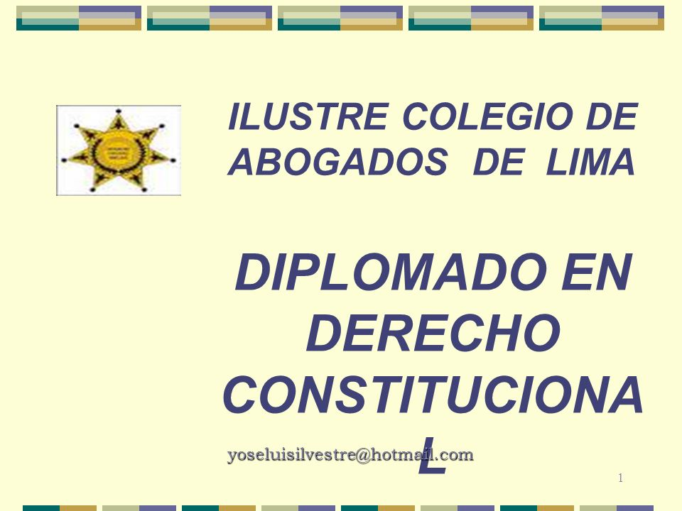ILUSTRE COLEGIO DE ABOGADOS DE LIMA DIPLOMADO EN DERECHO CONSTITUCIONA L 1 yoseluisilvestre@hotmail.com