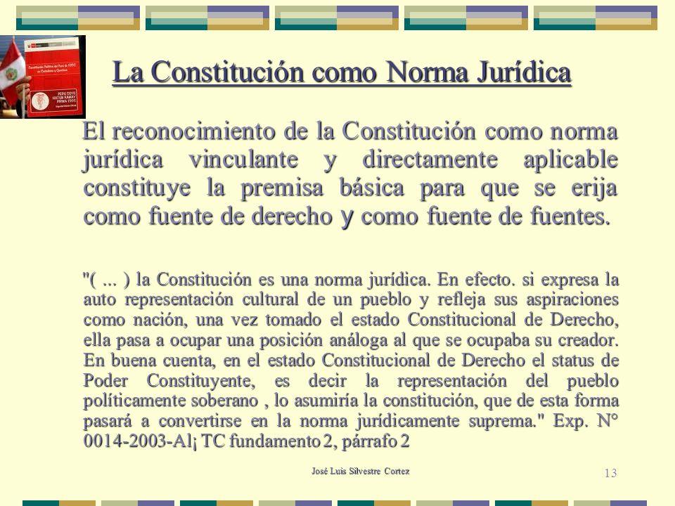 José Luis Silvestre Cortez La Constitución como Norma Jurídica La Constitución como Norma Jurídica El reconocimiento de la Constitución como norma jurídica vinculante y directamente aplicable constituye la premisa básica para que se erija como fuente de derecho y como fuente de fuentes.
