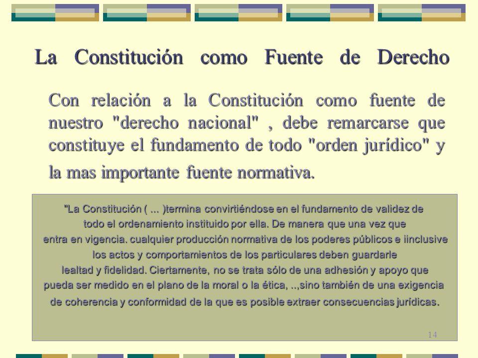 José Luis Silvestre Cortez La Constitución como Fuente de Derecho La Constitución como Fuente de Derecho Con relación a la Constitución como fuente de nuestro derecho nacional , debe remarcarse que constituye el fundamento de todo orden jurídico y la mas importante fuente normativa.