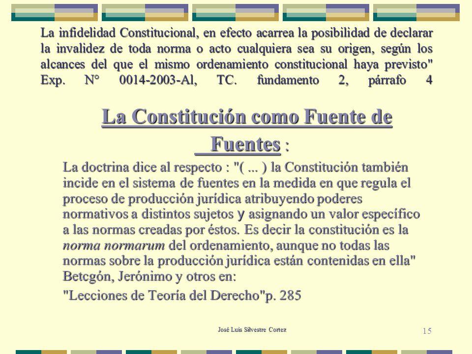 José Luis Silvestre Cortez La infidelidad Constitucional, en efecto acarrea la posibilidad de declarar la invalidez de toda norma o acto cualquiera sea su origen, según los alcances del que el mismo ordenamiento constitucional haya previsto Exp.