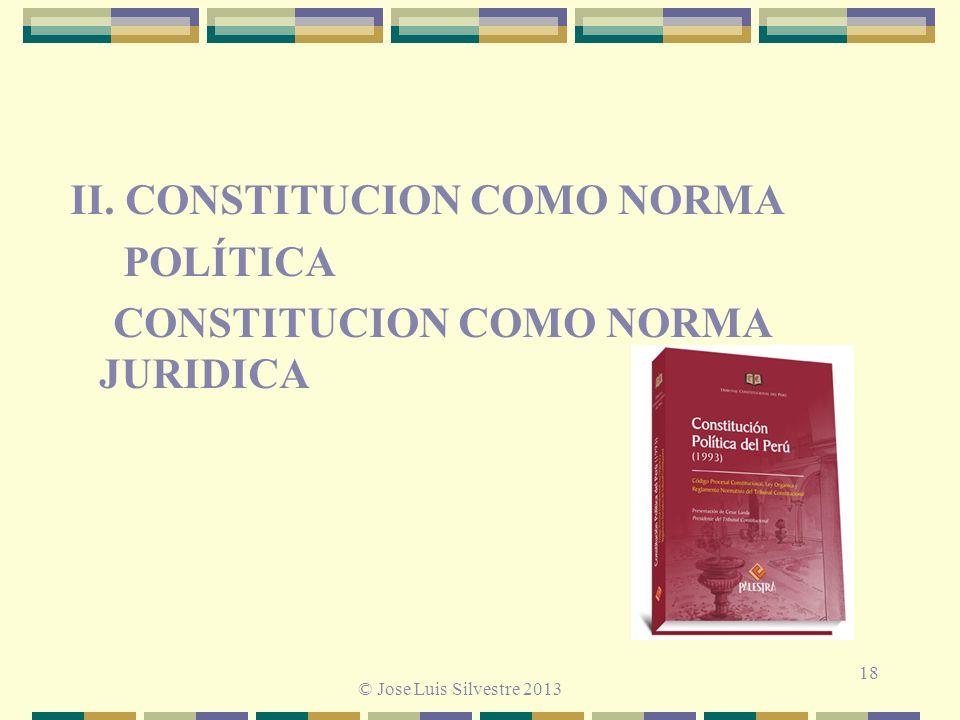 18 II. CONSTITUCION COMO NORMA POLÍTICA CONSTITUCION COMO NORMA JURIDICA © Jose Luis Silvestre 2013
