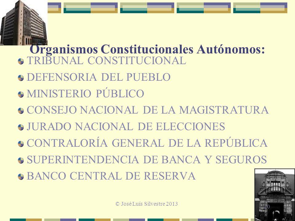 Organismos Constitucionales Autónomos: TRIBUNAL CONSTITUCIONAL DEFENSORIA DEL PUEBLO MINISTERIO PÚBLICO CONSEJO NACIONAL DE LA MAGISTRATURA JURADO NACIONAL DE ELECCIONES CONTRALORÍA GENERAL DE LA REPÚBLICA SUPERINTENDENCIA DE BANCA Y SEGUROS BANCO CENTRAL DE RESERVA © José Luís Silvestre 2013 20
