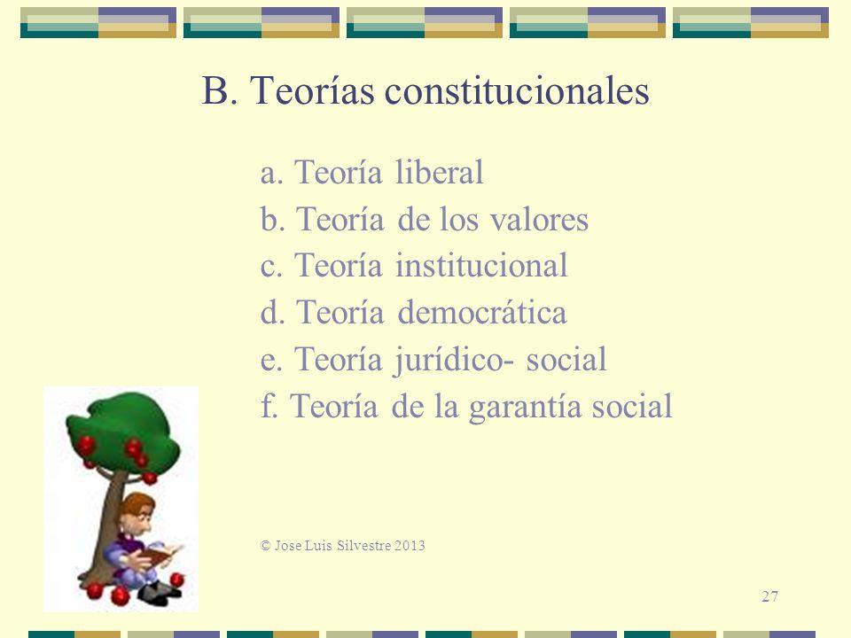 B.Teorías constitucionales a. Teoría liberal b. Teoría de los valores c.
