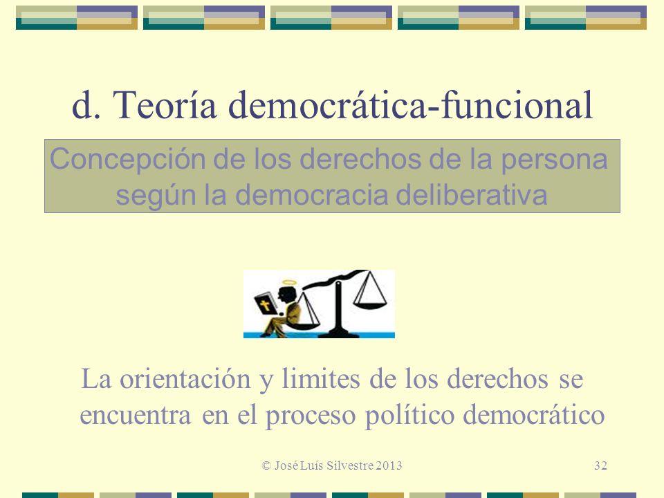 d. Teoría democrática-funcional La orientación y limites de los derechos se encuentra en el proceso político democrático Concepción de los derechos de